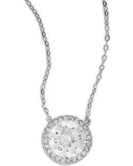 Silvertone Disc Pendant Necklace