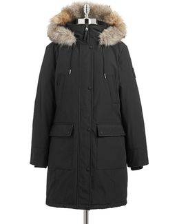 The Coat Edit Faux Fur Trim Performance Parka