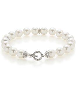 Pave Accent Faux Pearl Bracelet