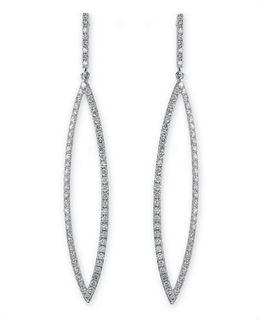 14k White Gold And Diamond Open Drop Earrings