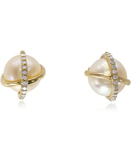 Diamond And Cultured Freshwater Pearl 14k Gold Earrings