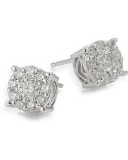 14k White Gold Diamond Stud Earrings Box Set