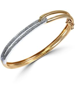 Duo Diamond, 14k White Gold And 14k Yellow Gold Loop Bracelet