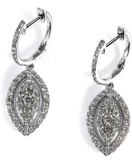 14k White Gold And Diamond Marquis Drop Earrings