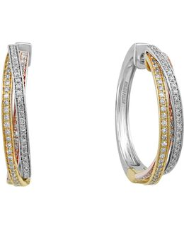 14k Tri-color Diamond Twisted Hoop Earrings