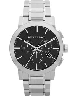 The City Silvertone Chronograph Watch