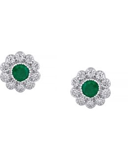 Emerald Diamond And 14k White Gold Flower Earrings