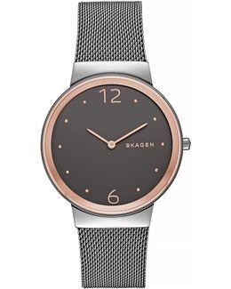 Freja Two-tone Steel Mesh Bracelet Watch