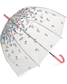 Butterfly And Bird Clear Walking Umbrella