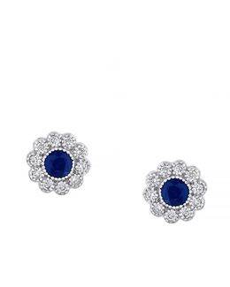 14 Karat White Gold And Sapphire Stud Earrings