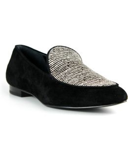 Suede And Calf Hair Loafers