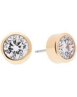 Goldtone Circular Crystal Earrings
