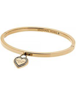Mk Logo Goldtone Heart Charm Bangle Bracelet