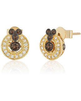 14k Honey Gold Chocolate Multi Round Deco Earrings