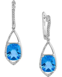 14k White Gold And Blue Topaz 0.27 Tcw Diamond Earrings