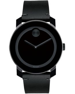 Bold Black Steel And Leather Analog Watch