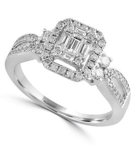 14k White Gold And 0.57 Tcw Diamond Engagement Ring