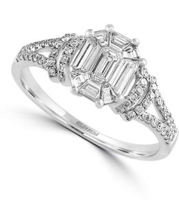 14k White Gold And 0.8 Tcw Diamond Engagement Ring