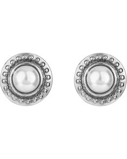 Silvertone Textured Stud Earrings