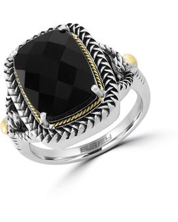 18k Yellow Gold And Sterling Silver Onyx Ring Box Set