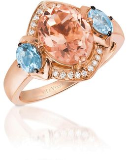 14k Rose Gold And Morganite Ring With Aquamarine And 0.07 Total Carat Weight Diamonds Box Set
