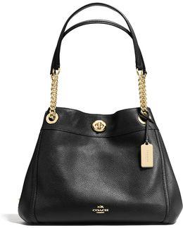Turnlock Edie Pebble Leather Shoulder Bag