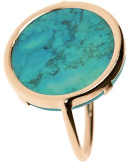 18k Rose Gold Fallen Sky Turquoise Disc Ring