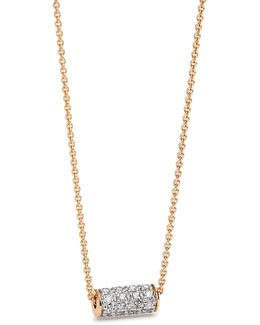 18k Rose Gold And 0.128 Total Carat Weight Diamond Cylinder Necklace
