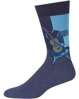 Guitarist Print Crew Socks