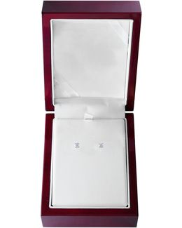 14k White Gold Stud Earrings With 0.50 Total Carat Weight Diamonds Box Set