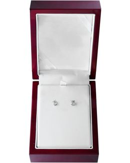 14k White Gold Stud Earrings With 1.0 Total Carat Weight Diamonds Box Set