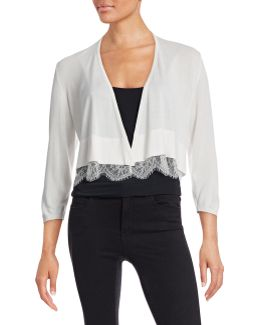 Open-front Shrug With Lace Hem