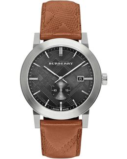 The City Stainless Steel Leather Watch