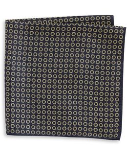 Neat Print Silk Pocket Square