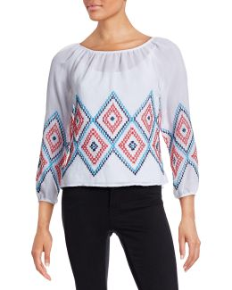 Diamond Stitched Peasant Top