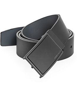 Reversible Plaque Buckle Leather Belt