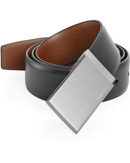 Reversible Patterned Plaque Buckle Leather Belt