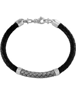 Braided Leather Sterling Silver Bracelet