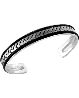 Woven Texture Sterling Silver Bangle