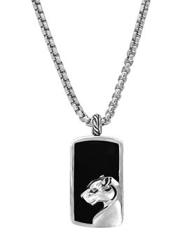 Sterling Silver Onyx Dog Tag Necklace