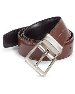Laser Line Reversible Leather Belt