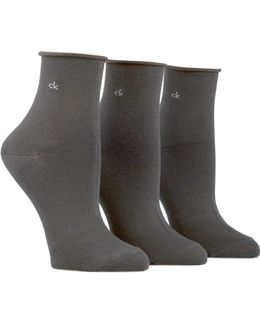 Three-pack Roll Top Anklet Socks
