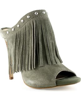 Ara Leather Fringe Mules