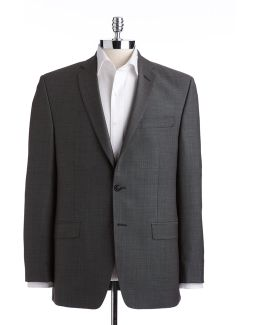 Big And Tall Charcoal Modern Fit Wool Suit Separate Jacket