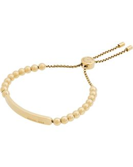 Goldtone Logo Plaque Beaded Bracelet