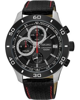 Chronograph Tachymeter Black Leather Strap Watch
