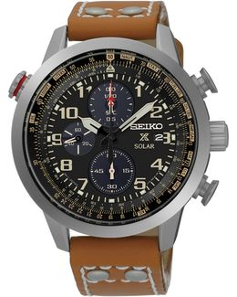 Solar Prospex Collection Flight Computer Brown Leather Strap Watch