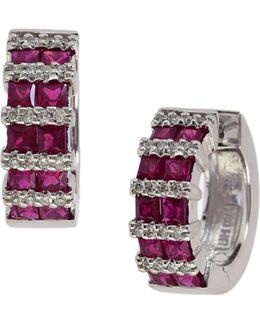 14k White Gold Ruby Hoop Earrings With 0.2 Tcw Diamonds