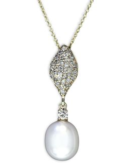 14k Yellow Gold 0.31 Tcw Diamond And Freshwater Pearl Drop Pendant Necklace