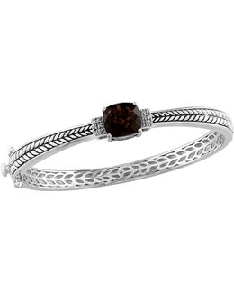 Smoky Quartz 0.06 Tcw Diamond Accent Bangle